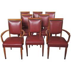 Set of Six 1950s Side and Two Arm Walnut Chairs by Leleu