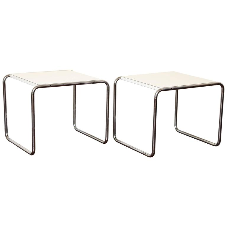Pair Of Marcel Breuer Tubular Steel Side Tables Or Stools For Knoll For Sale