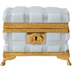 Empire Gilt Bronze-Mounted Opaline Glass Box
