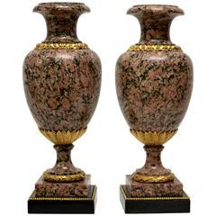 Pair of Large Louis XVI Style Granite Urns, 19th Century