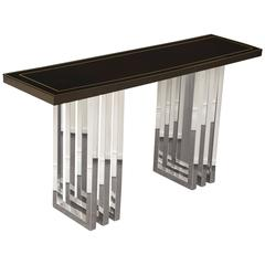 Black Lacquer and Chrome Console Table with Thick Top; Inset with Gold Trim