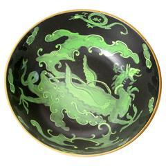 Very Unusual Black and Green Mason Dragon Ironstone Bowl