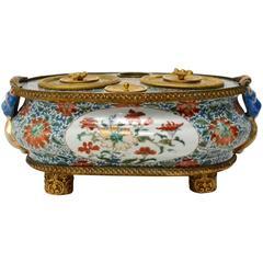 Chinese 18th Century Ormolu-Mounted Famille Verte Inkstand
