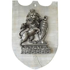 Antique Lion Rampant Heraldic Shield, English, ca. 1860