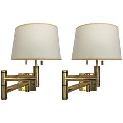 Pair of Karl Springer Swing Arm Wall Lamps in Heavy Brass