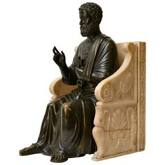 Bronze Sculpture of St. Peter Seated on a Marble Throne Chair, 19th Century