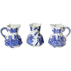 Three Small Mason Ironstone Blue Dragon Ewers