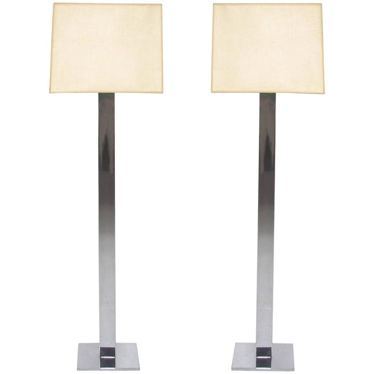 Pair of Mid-Century Chrome Floor Lamps by George Kovacs