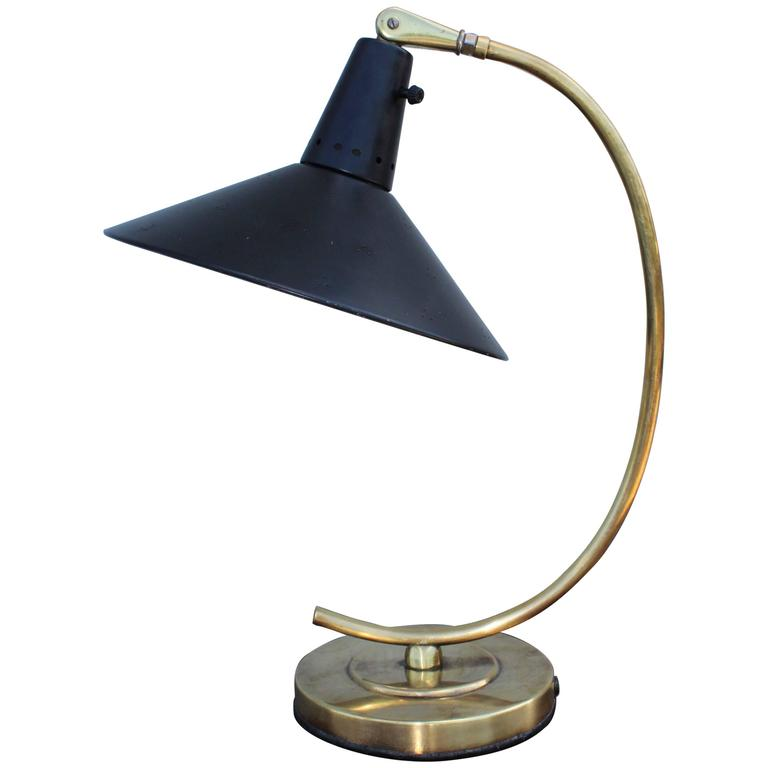 1950s Italian Brass Desk Lamp