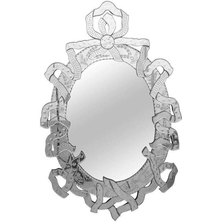 Large Venetian Mirror with Ribbon Motif, Italy, 1950s