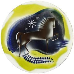 """Horse in the Midnight Sky,"" Large, Fabulous Art Deco Rondel Panel by Winter"