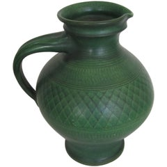 Large German Wilhelm Kagel Handmade Green Pottery Pitcher or Vessel
