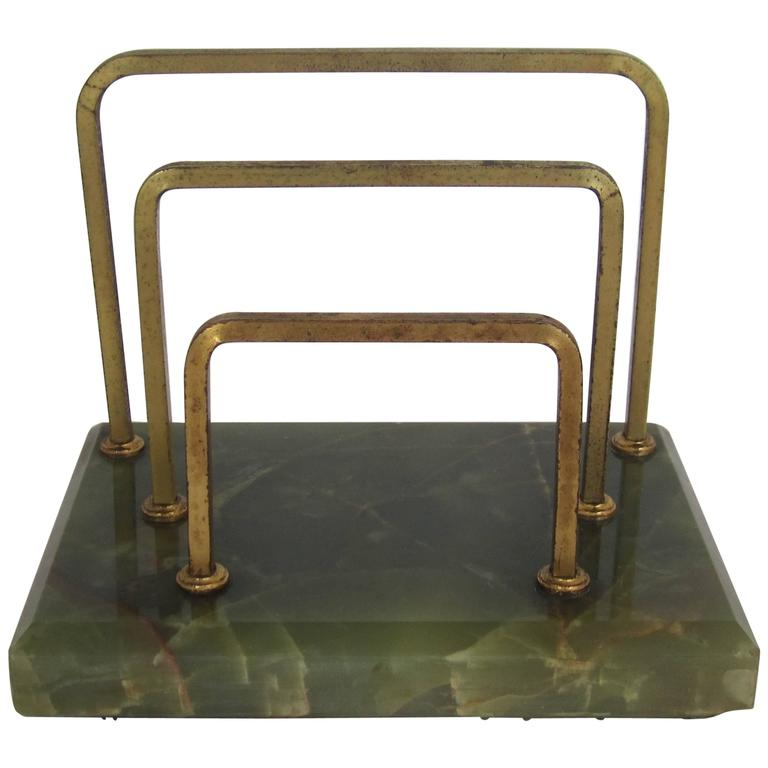 Antique Furniture Supplies Mail: Vintage Brass And Green Onyx Mail Or Letter Desk Organizer