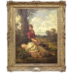 Signed Large Henry Campotosto Oil Painting of Two Girls Resting