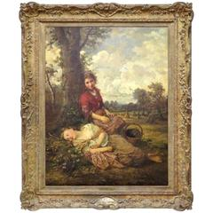 Henry Campotosto Oil Painting of Two Girls Resting