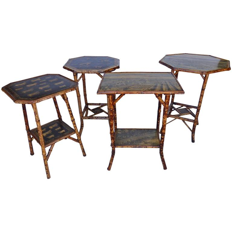 Bamboo Tables with Decoupage For Sale