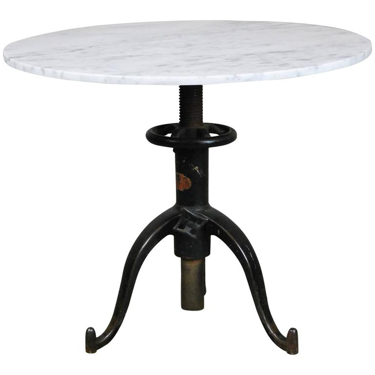 1910 Cast Base Adjustable Pedestal Marble Top Table At 1stdibs