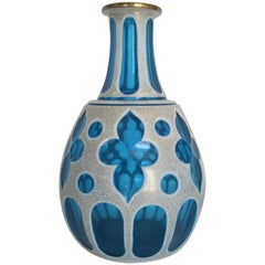 Blue and White Bohemian Art Glass Vase
