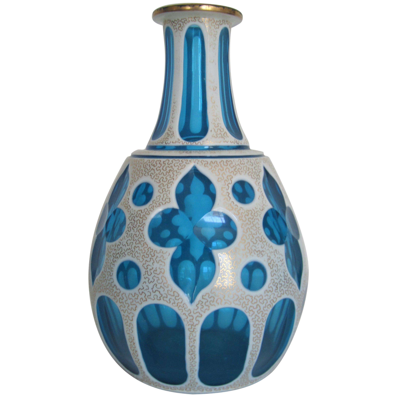 Blue and White Bohemian Art Glass Vase