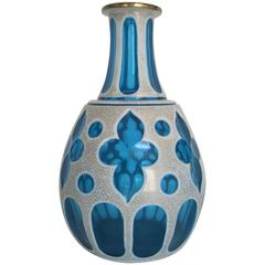 Gorgeous Blue White and Gold Bohemian Glass Vessel or Vase