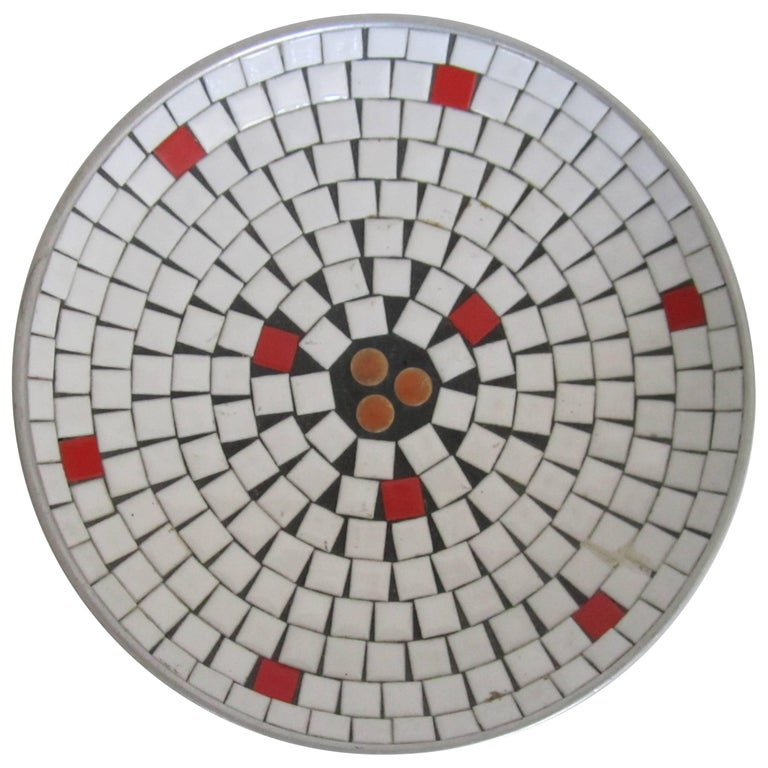 Mid-Century Modern White Mosaic Ceramic Tile Dish or Bowl For Sale