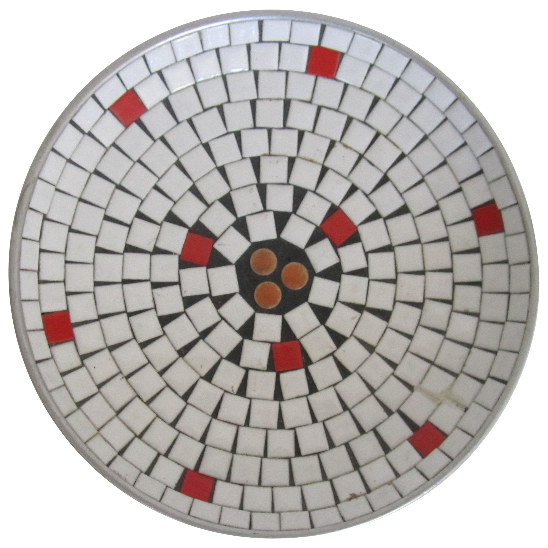 Mid-Century Modern White Mosaic Ceramic Tile Dish or Bowl
