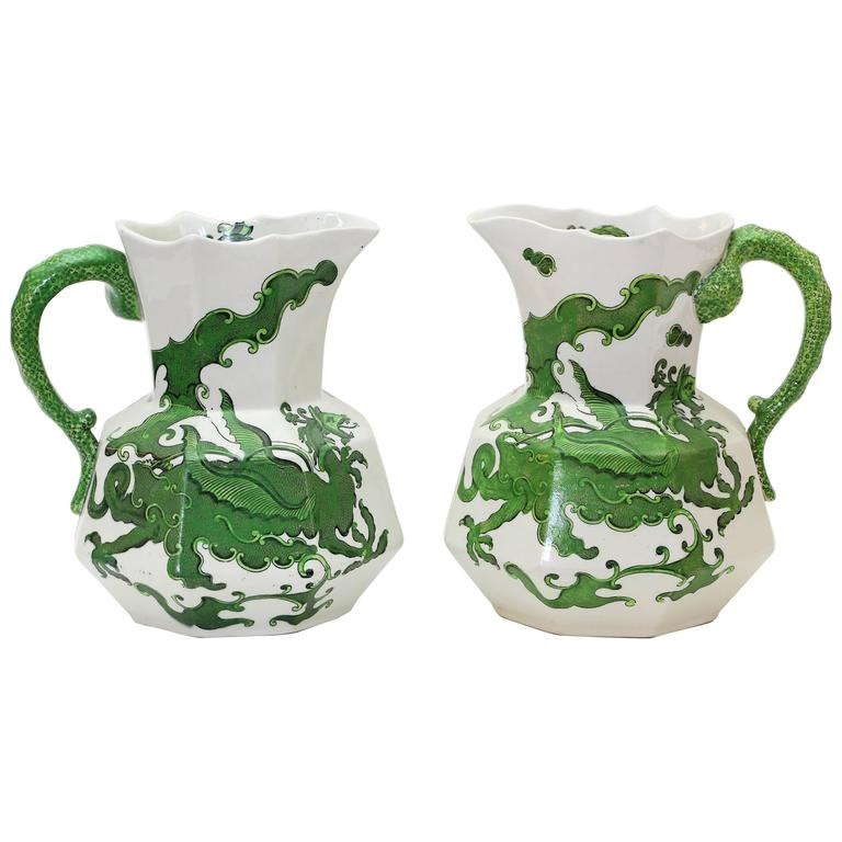 Pair of Tall Mason Ironstone Ewers in Green Dragon Pattern