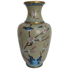 Beautiful Large Vintage Asian Cloisonné Vase with Bird, circa 1970s