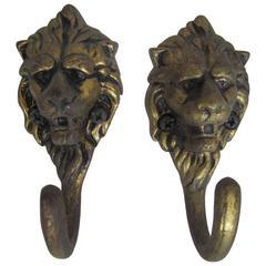 Vintage Pair of European Brass Lion Head Hardware Wall Hooks