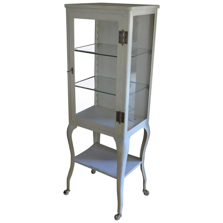 Apothecary Dental Medical Steel and Glass Antique Cabinet with Cabriole  Legs For Sale - Apothecary Dental Medical Steel And Glass Antique Cabinet With