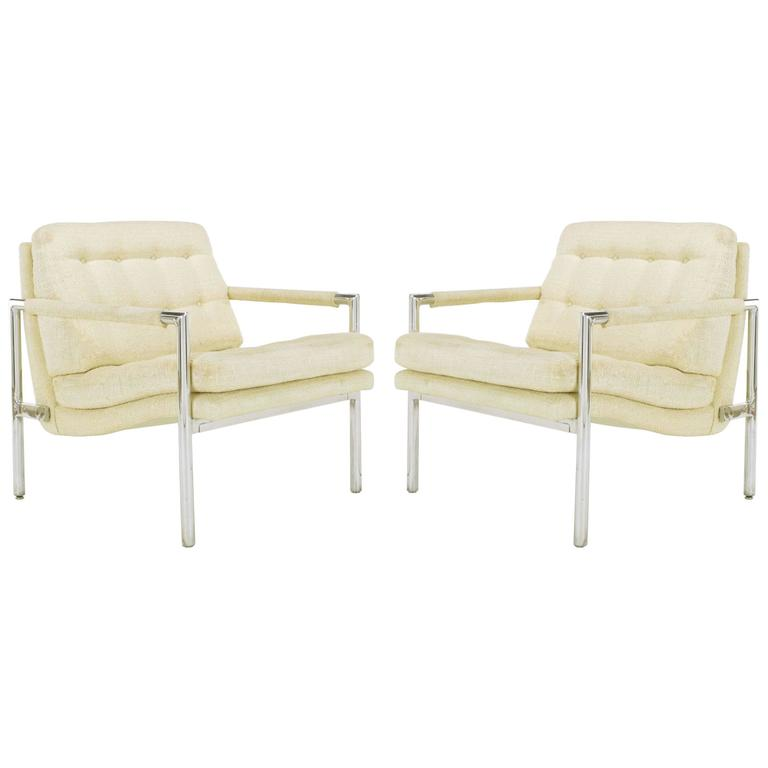 Pair of Polished Aluminum & Linen Lounge Chairs in the Manner of Harvey Probber