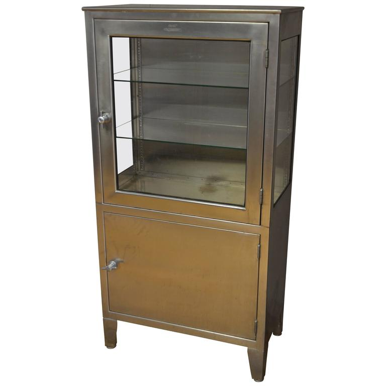Medical Dental Lab Cabinet of Stainless Steel and Glass, Vintage ...