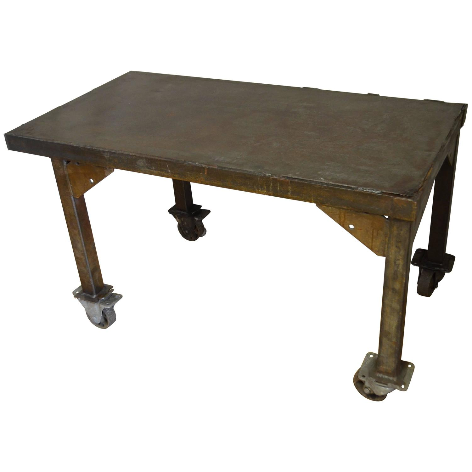 Industrial Tv Stand And Coffee Table: Steel Rolling Coffee Table Work Table Flat Screen TV Stand