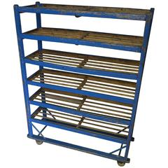 Shoe Bakery Cart Stand with Wheels of Wood in Original Primitive Blue Paint