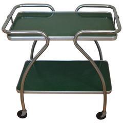 Kitchen Bar Cart of Mid-Century Green on Wheels