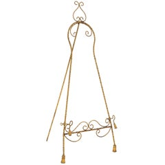 1950s Italian Gilt Metal Easel with Tassels