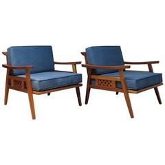Pair of Unique Lounge Chairs, circa 1960