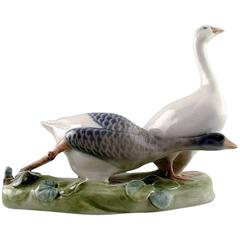 Royal Copenhagen Figurine, Two Geese, No. 609,  Rare Figure