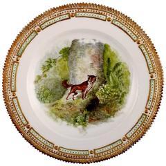 Royal Copenhagen Flora Danica / Fauna Danica Dinner Plate, Fox in a Forest, 1932