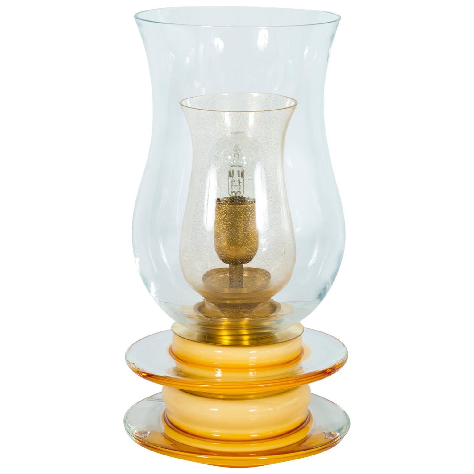 Italian Venetian, Table Lamp, Blown Murano Glass, Candle Shape,Gold Amber, 1970s