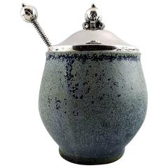 Arne Bang and Others, Jam Jar in Stoneware with Lid and Spoon in Sterling Silver