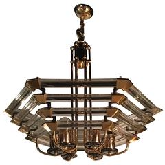 1970 Gilded Iron and Lucite Chandelier Shape Style Design Hexagonal Form