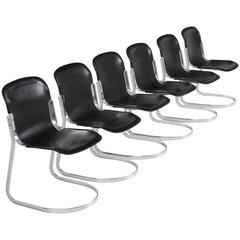 Set of Six Dining Chairs in Black Leather by Cidue, Italy