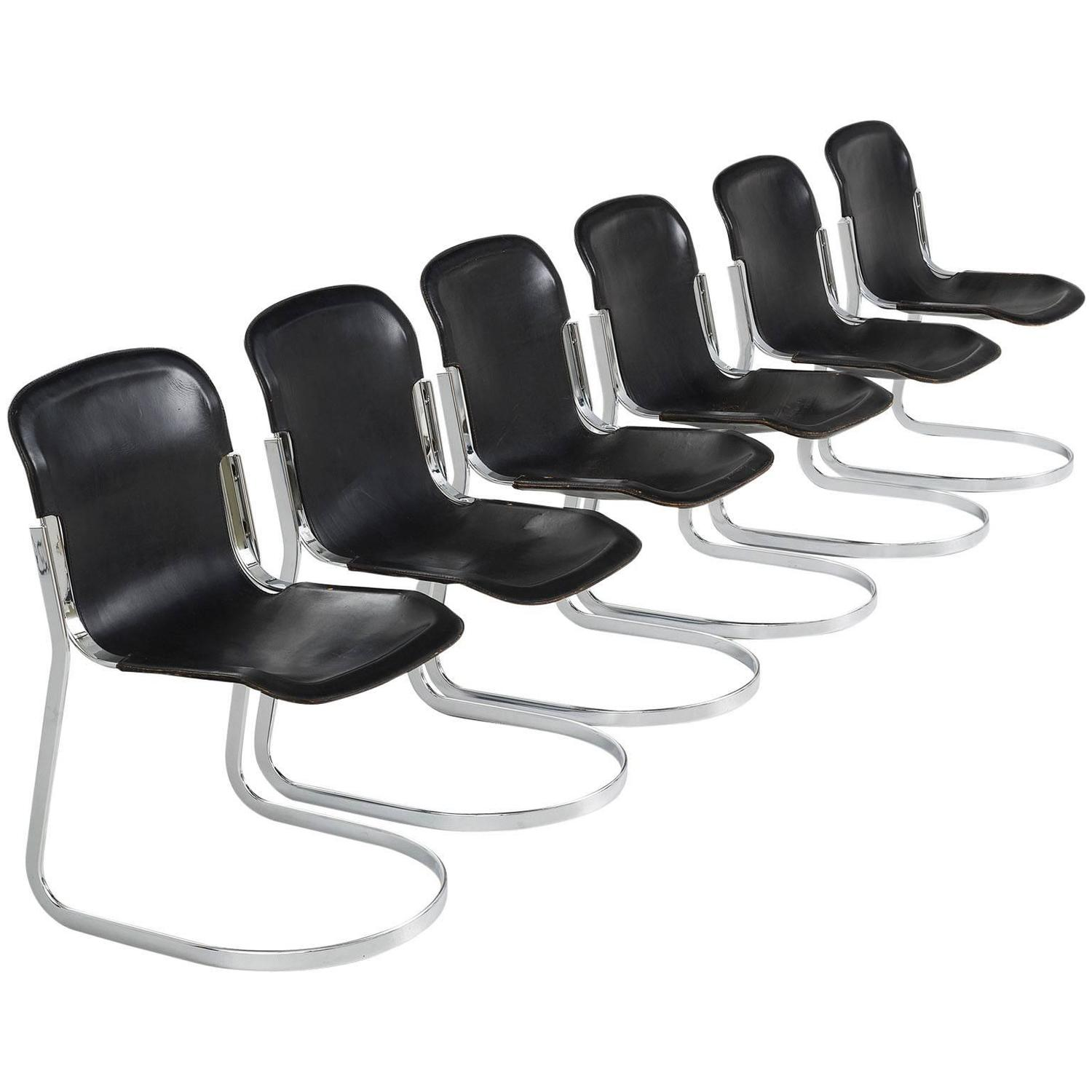 Set of Six Dining Chairs in Black Leather by Cidue Italy For Sale