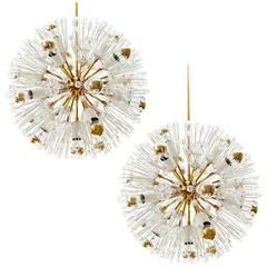 Emil Stejnar Sputnik Chandelier, Brass Crystal Glass, 1950s