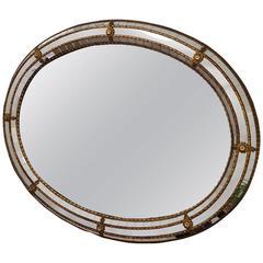 Brass Adams Style Oval Mirror
