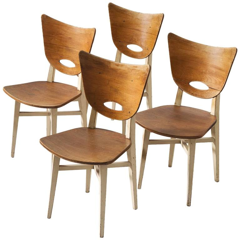 Set of Four Dining Chairs in Beech For Sale