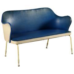 Two-Seat Sofa Foam Skai Leatherette Lacquered Metal, Italy, 1950s