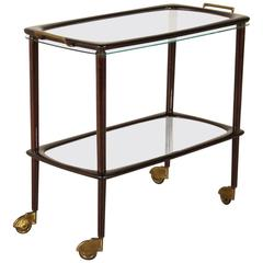 Service Cart with Removable Tray Stained Wood Glass Brass, Italy, 1950s