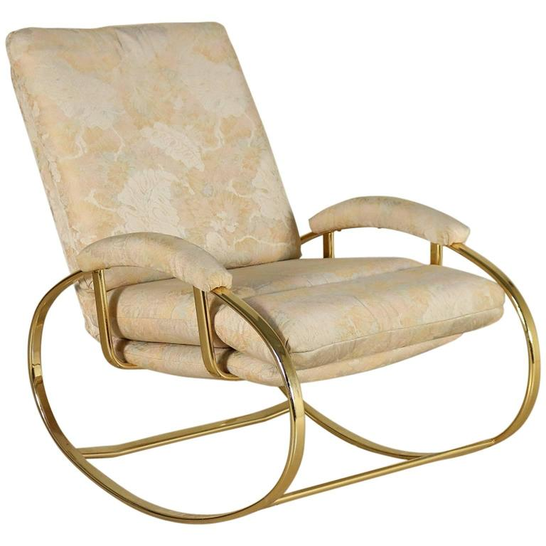 Rocking Chair Brass Plated Metal Foam Padding Fabric Upholstery Italy 1980s At 1stdibs